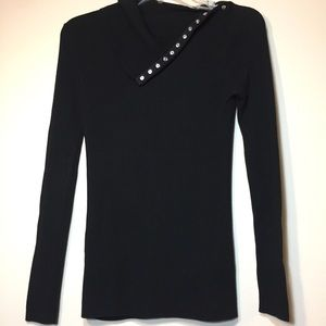 Zara | Black Knit Top With Silver Snaps | Small